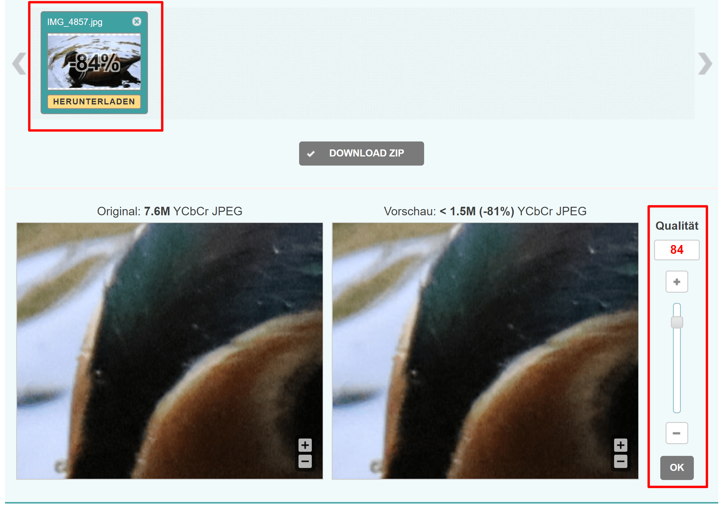 Bildkomprimierung mit Optimizilla